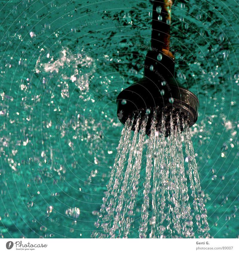 Kopfstand Wasser grün blau Sommer Freude kalt nass frisch Coolness türkis Dusche (Installation) Luftblase spritzen Erfrischung gießen kühlen