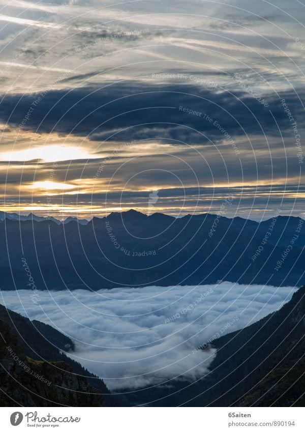 Erwachen Himmel Natur blau schön Landschaft ruhig Wolken kalt Umwelt Berge u. Gebirge grau Zeit außergewöhnlich Wetter Zufriedenheit leuchten