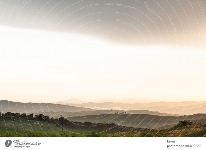 Ist das hier das Auenland, oder was!? Himmel Natur Ferien & Urlaub & Reisen Pflanze schön Sommer Landschaft ruhig Wolken Umwelt Stimmung Horizont Feld Idylle Nebel Tourismus