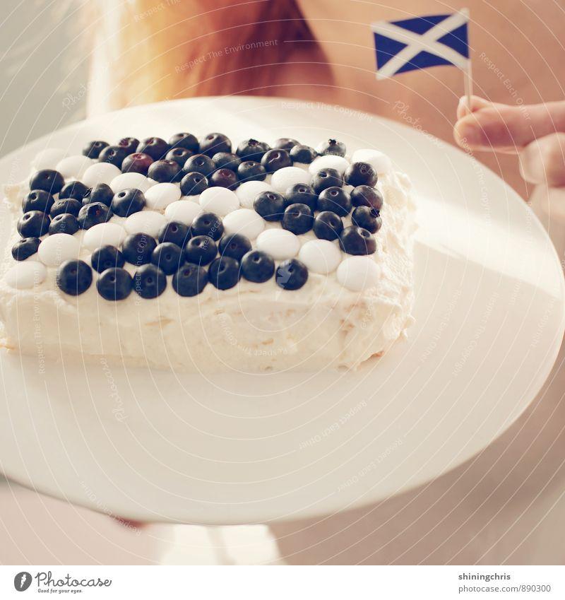 45% Frucht Teigwaren Backwaren Blaubeeren Torte feminin Finger 1 Mensch Zeichen Fahne blau weiß Willensstärke Schottland Mut Entschlossenheit Kreuz