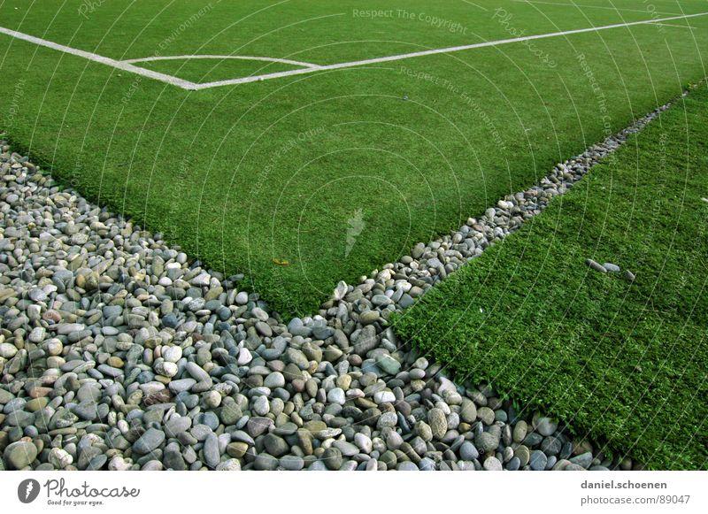 Ecke ohne Fahne grün grau Stein Linie Fußball Hintergrundbild leer Perspektive Ecke Rasen Freizeit & Hobby Spielfeld Verkehrswege Ballsport Kunstrasen