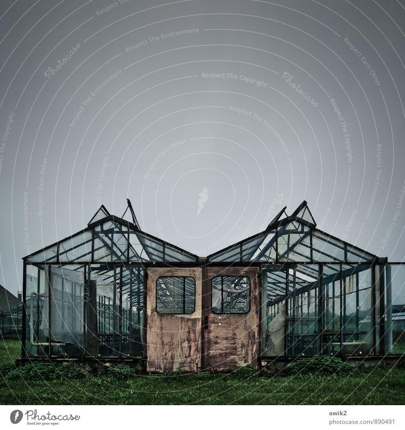 Glashütten Himmel alt Gras Gebäude Metall Tür trist authentisch Vergänglichkeit Wandel & Veränderung Vergangenheit verfallen Verfall Konzentration durchsichtig