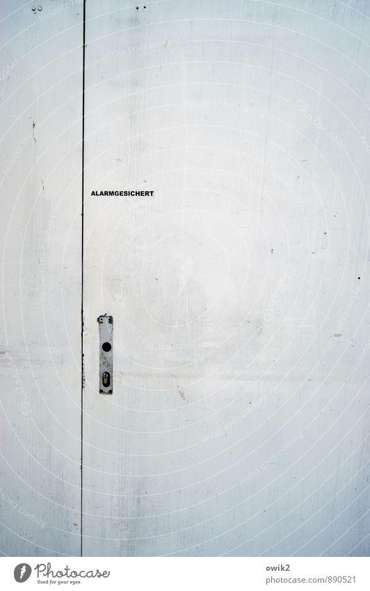 Textfreiraum alt Linie Metall Ordnung Tür leer Schriftzeichen einfach Sicherheit Buchstaben Kontrolle eckig minimalistisch Griff hell-blau sparsam