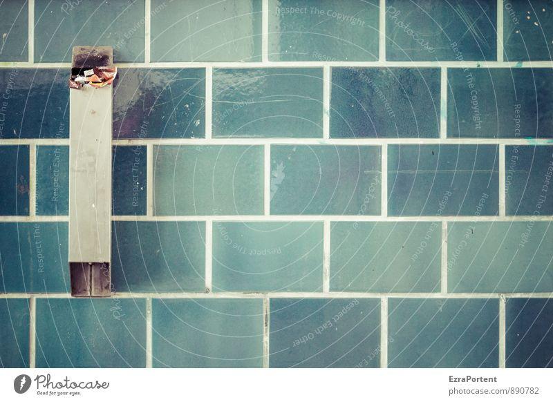Fugenweiss Haus Bahnhof Gebäude Mauer Wand Fassade Linie blau türkis graphisch Grafik u. Illustration Müll Müllbehälter Aschenbecher Fliesen u. Kacheln