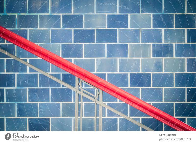 red cross blue Haus Bahnhof Bauwerk Architektur Mauer Wand Fassade Linie ästhetisch blau rot quer Fliesen u. Kacheln Geländer festhalten Halt diagonal Design