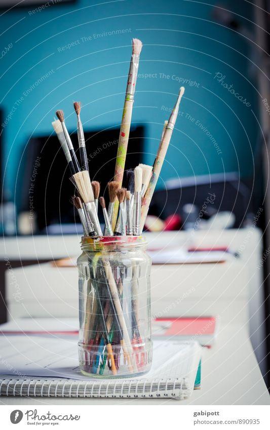 glas.pinsel.bunt Künstler Maler Pinsel Malutensilien Farbstoff Farbenspiel zeichnen frei Freundlichkeit Fröhlichkeit einzigartig natürlich positiv blau