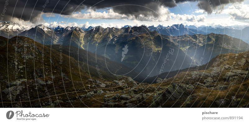 Zillertal Natur Landschaft Wolken dunkel Berge u. Gebirge bedrohlich Abenteuer Gipfel schlechtes Wetter Gewitterwolken Bundesland Tirol Zillertaler Alpen