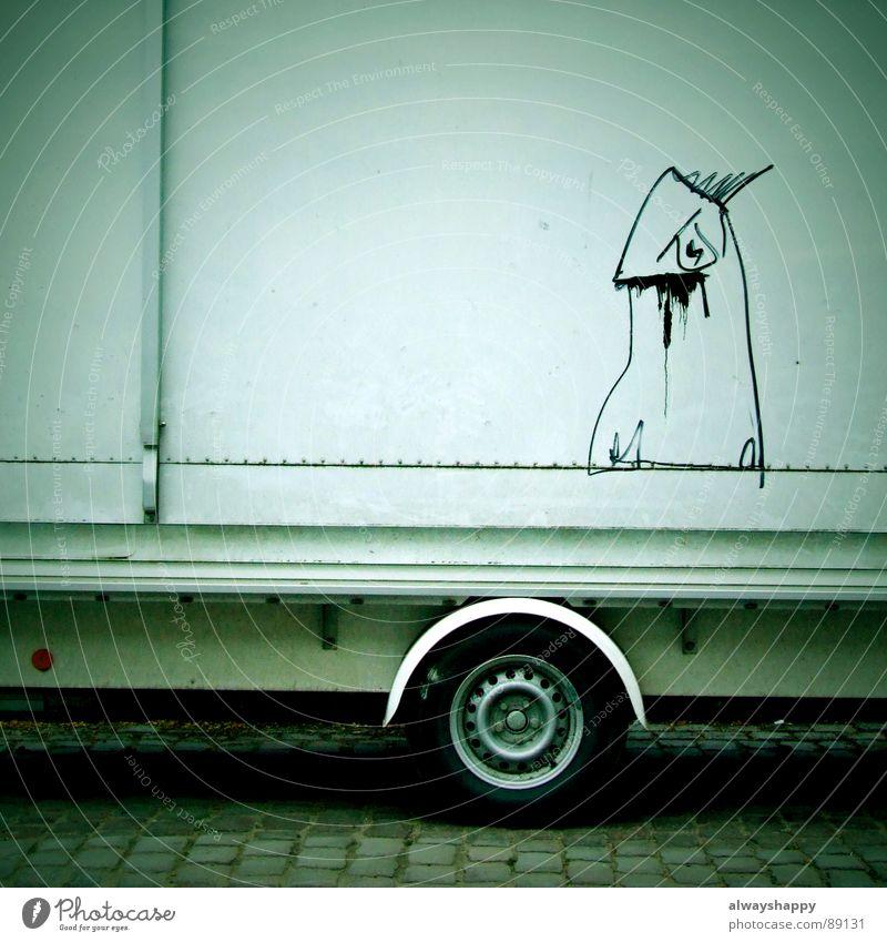 alchemie 2007 Straßenkunst Marktstand weiß dreckig beschmiert Schmiererei Gemälde Monster Dinge Graffiti Wandmalereien Kunst Kultur wurstbude ökofleisch