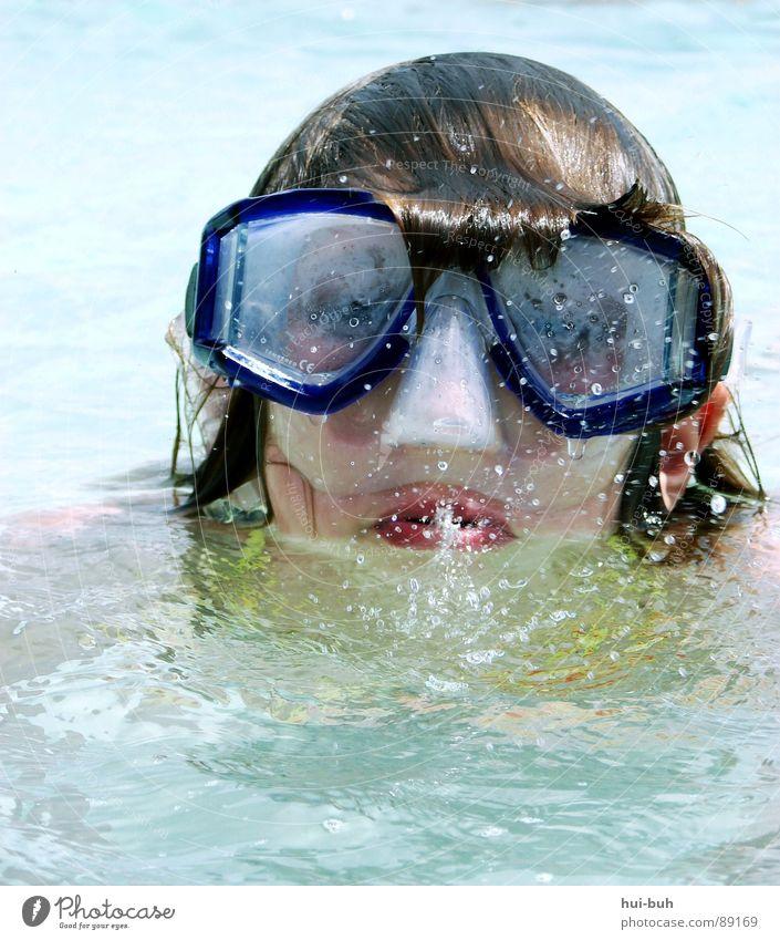 Luftholen tauchen Taucherbrille Brille atmen Sauberkeit spucken Ferien & Urlaub & Reisen kleben nass Physik Sauerstoff auftauchen Wassersport Klarheit Freude
