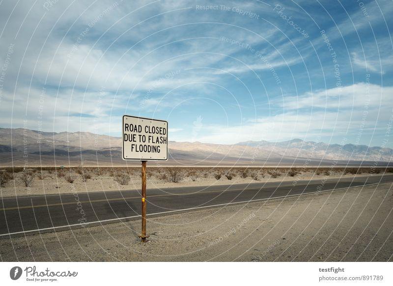 hinweis Umwelt Natur Pflanze Wolken Wüste Death Valley National Park Verkehr Verkehrswege Straße Güterverkehr & Logistik Verkehrszeichen Flut Warnung Sicherheit