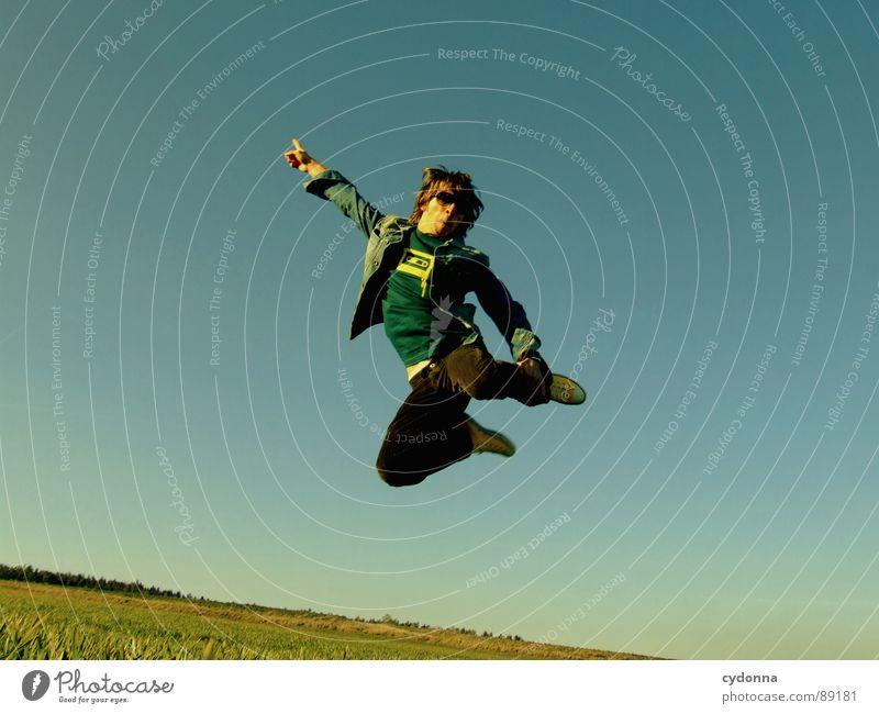 Spring ins Feld! VII Mensch Himmel Mann Natur grün Pflanze Freude Landschaft Leben Wiese Gefühle Freiheit Gras Bewegung Frühling Stil