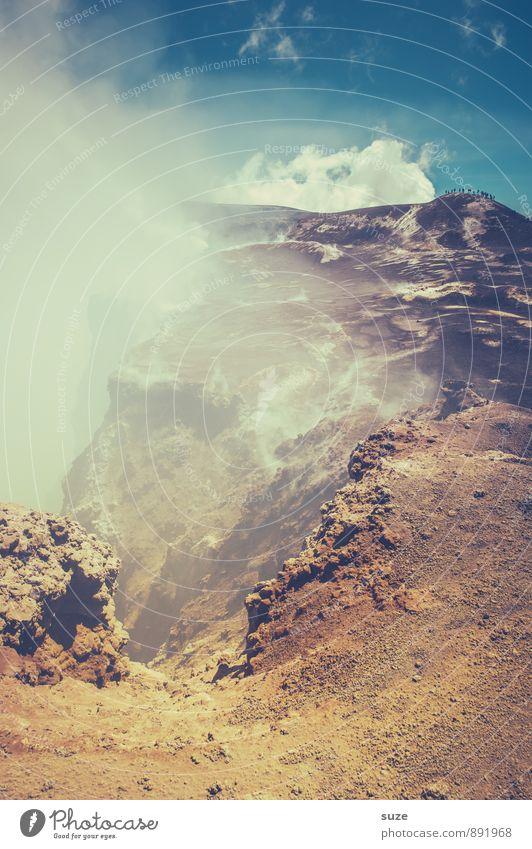Vulkanischer Gruß Ferien & Urlaub & Reisen Abenteuer Expedition Berge u. Gebirge wandern Umwelt Natur Himmel Wolken Gipfel Rauch fantastisch hoch anstrengen