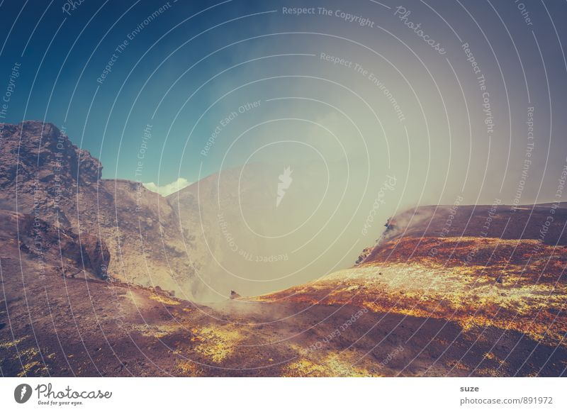Gipfelkrater Aetna Ferien & Urlaub & Reisen Abenteuer Expedition Berge u. Gebirge wandern Umwelt Natur Urelemente Erde Himmel Wolken Felsen Vulkan Rauch hoch