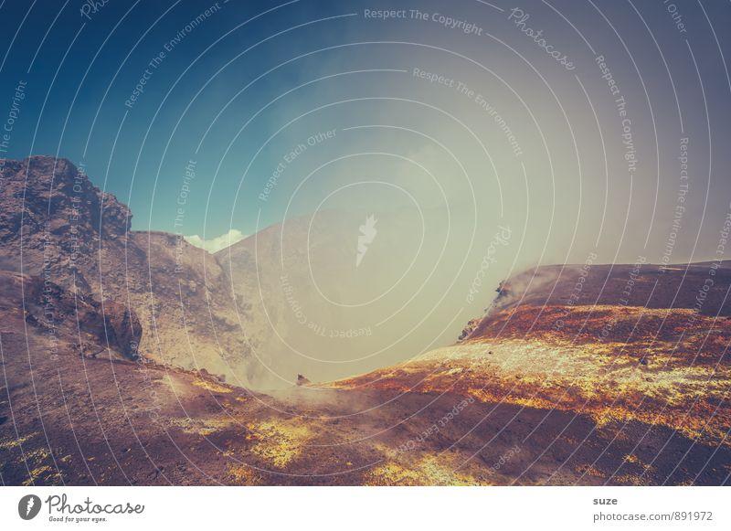 Gipfelkrater Aetna Himmel Natur Ferien & Urlaub & Reisen Wolken Umwelt Berge u. Gebirge Felsen Erde wandern hoch Urelemente Abenteuer Italien Ziel Rauch