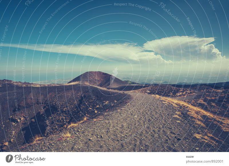 Vulkanien Himmel Natur Ferien & Urlaub & Reisen Landschaft Wolken Umwelt Berge u. Gebirge Reisefotografie Wege & Pfade Horizont wild dreckig Tourismus wandern