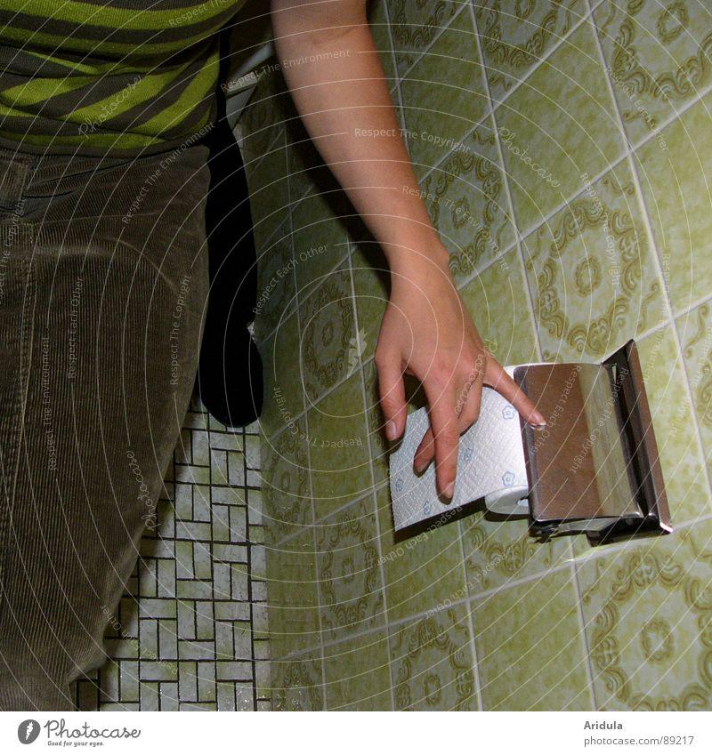 blatt für blatt Hand alt grün Arme sitzen Papier Bad Toilette Fliesen u. Kacheln obskur Rolle Toilettenpapier