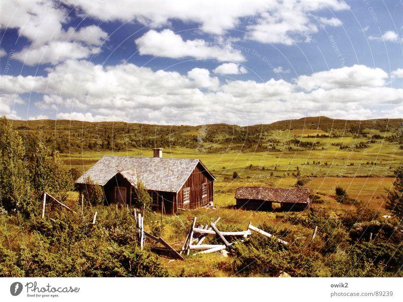 Keiner da Himmel Natur Ferien & Urlaub & Reisen alt Pflanze Einsamkeit Landschaft Wolken Haus Ferne Berge u. Gebirge Umwelt Holz Freiheit Tourismus groß