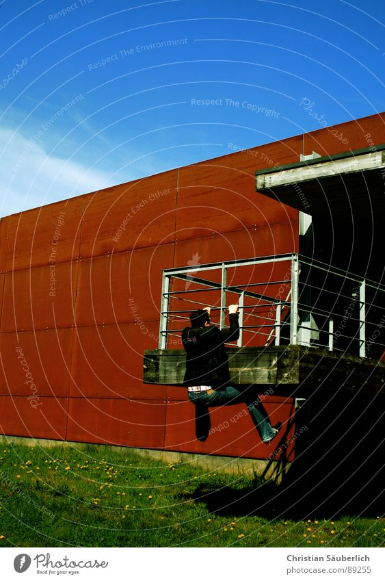 HANGER Wand abstützen Gras grün Krimineller Industrie Metall Rost Bunker ich Himmel blau Schönes Wetter Christian Säuberlich Klettern Cliff Hanger 0)