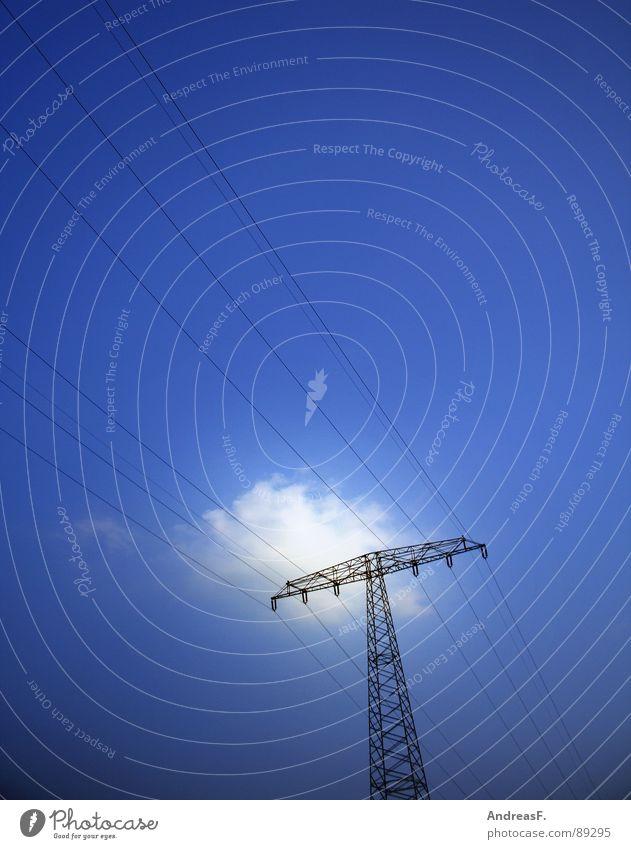 Yellow Strom Himmel blau Wolken Industrie Energiewirtschaft Elektrizität Kabel Sonnenenergie Strommast Klimawandel Hochspannungsleitung