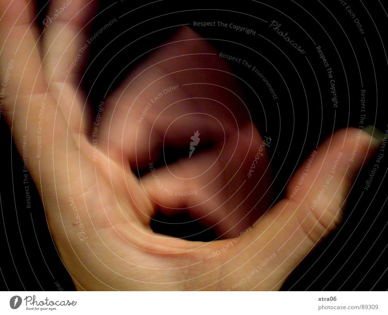 bewegte Hand 1 Mensch schwarz Bewegung Haut Finger Geschwindigkeit Fingernagel Abwechselnd