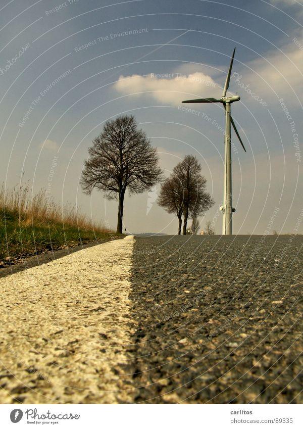 Der Weg 2 Himmel Baum Ferien & Urlaub & Reisen Wolken Ferne Straße Leben Wege & Pfade Stein Horizont liegen Bodenbelag Asphalt Unendlichkeit Sehnsucht Windkraftanlage