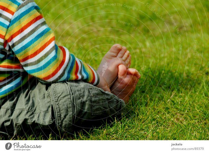 Lässig Gras Kind grün Sommer Freude Frühling Fuß Zufriedenheit Streifen Kleinkind Sonntag