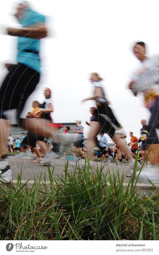 laufende Menschen aus der Sicht eines Wurms Joggen Geschwindigkeit Schuhe Turnschuh Ausdauer Gras Bewegungsunschärfe Menschengruppe Fitness rennen Beine