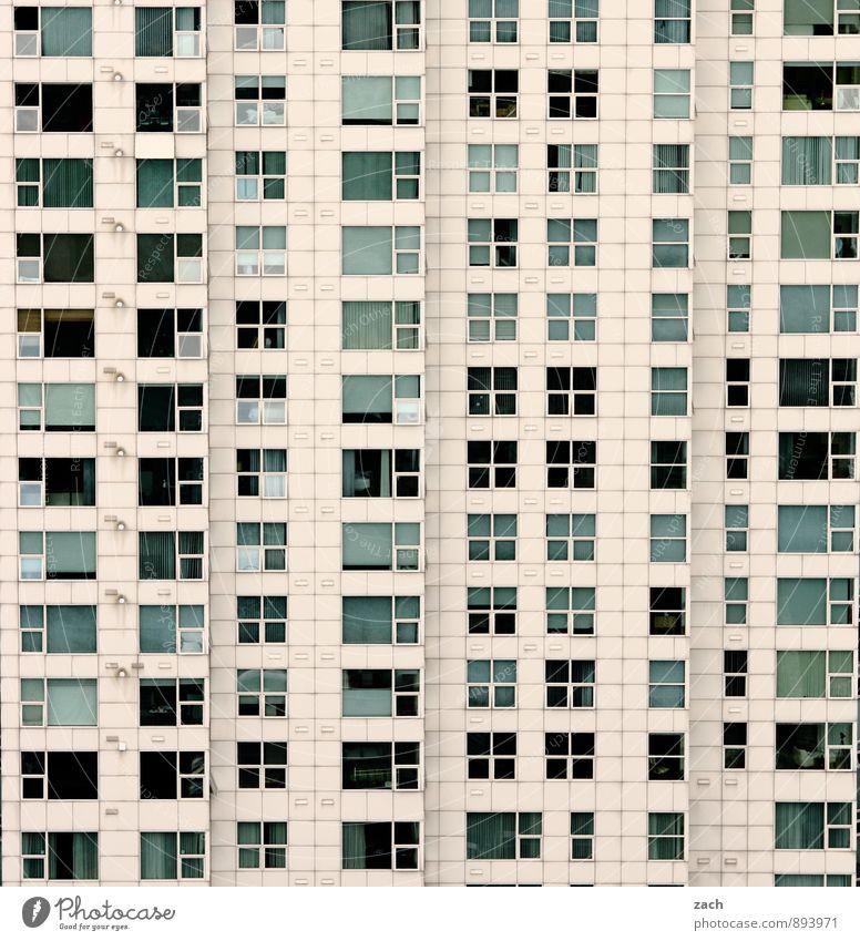 Stockwerk | neuntes bis zwanzigstes Stadt weiß Haus schwarz Fenster Wand Architektur Gebäude Mauer Linie Metall Fassade Wohnung Häusliches Leben Glas Hochhaus