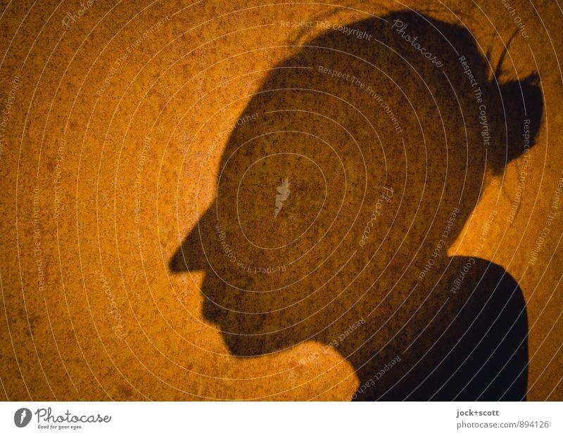 Frau Rost harmonisch Kopf Stahl Denken Wärme achtsam Identität Wandel & Veränderung Oberfläche Zahn der Zeit Schattenspiel schimmern Aura Grafik u. Illustration