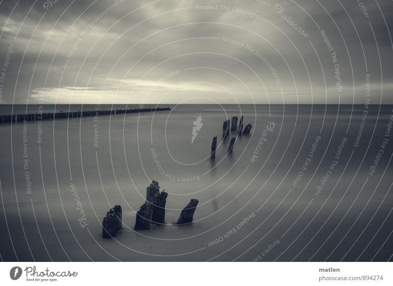 fragments Himmel weiß Wasser Meer Landschaft Wolken schwarz Umwelt Herbst Küste Horizont Wetter Flucht schlechtes Wetter Holzpfahl widerstehen