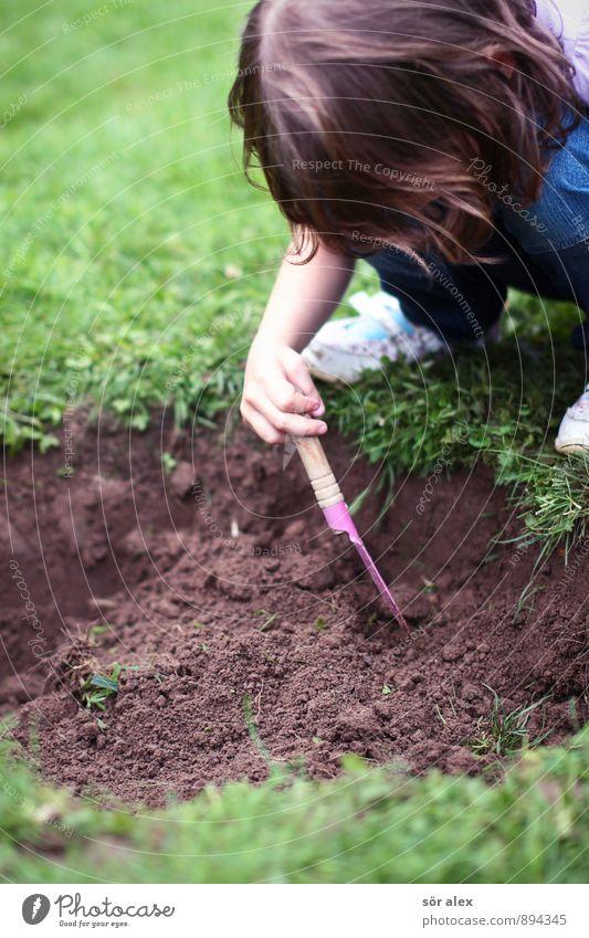 Geh draußen spielen! Mensch Kind grün Mädchen feminin Gras Spielen Garten Freizeit & Hobby Erde Kindheit Rasen Neugier Loch Kindergarten Interesse