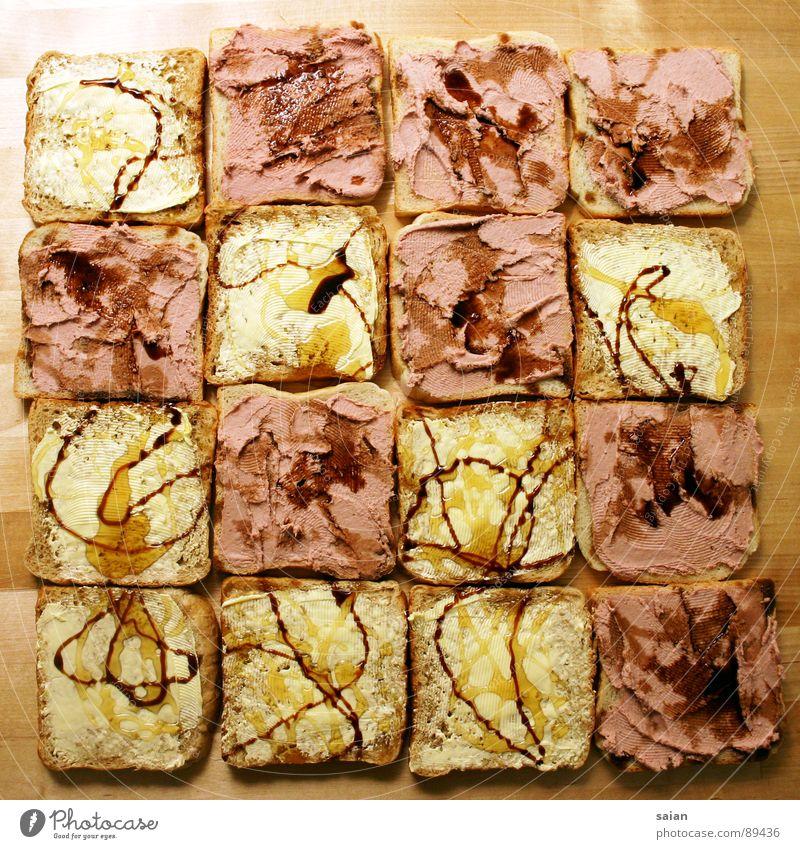 Toast Mosaik Brot Toastbrot Honig Butter Leberwurst Küche Ernährung