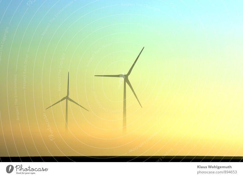 Levitation blau Landschaft schwarz gelb Wiese Herbst Horizont Energiewirtschaft Feld Nebel gold Schönes Wetter Windkraftanlage türkis drehen Ebene