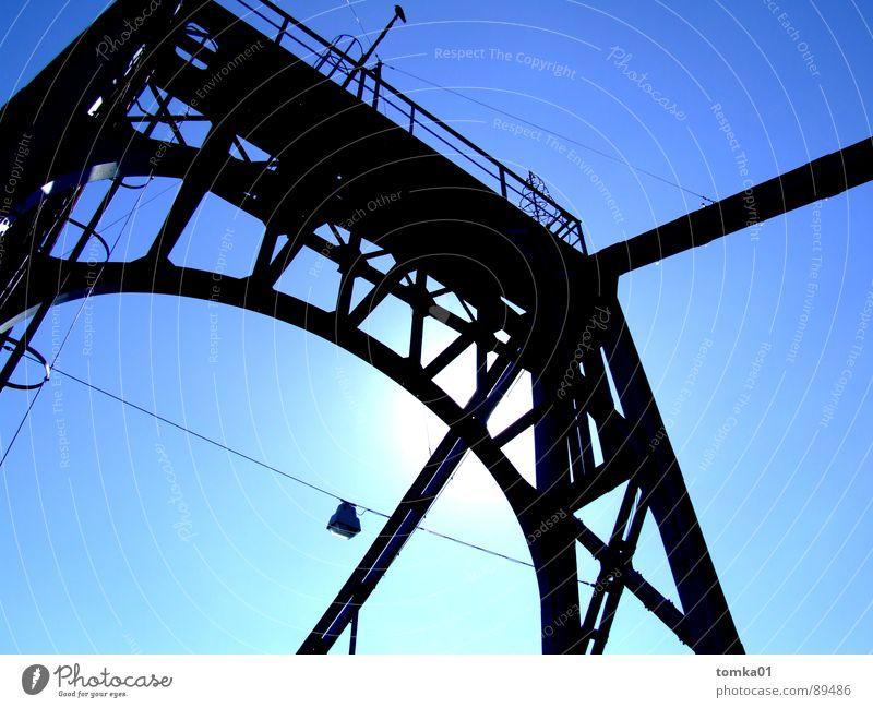 Arbeitnehmerfreundliche Brückentage    Wolken weiß dunkel schwarz Europa Eisen schön Außenaufnahme Deutschland Himmel hell blau Wilhelmshafen Eisenbrücke Metall