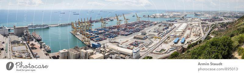 Barcelona - Hafen - Panorama Sommerurlaub Himmel Schönes Wetter Meer Castell de Montbejuic Stadt Hafenstadt Menschenleer Industrieanlage Sehenswürdigkeit