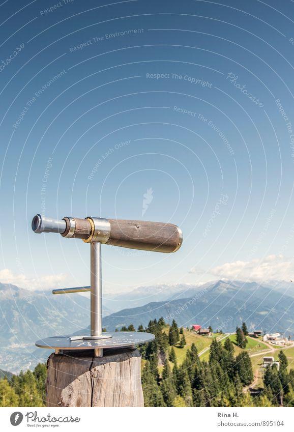 WeitSicht Ferien & Urlaub & Reisen Tourismus Ausflug Himmel Wolkenloser Himmel Horizont Sommer Baum Alpen Berge u. Gebirge Südtirol Lebensfreude Meran Teleskop