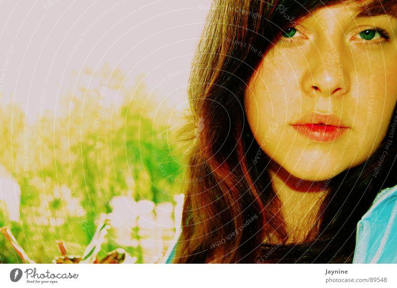 Frühlingsanfang Frau grün blau Sommer träumen braun Gedanke