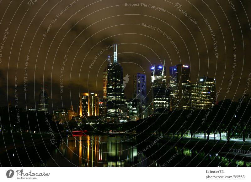 Melbourne at Night Stadt dunkel Hochhaus Skyline Australien Melbourne Nachtstimmung