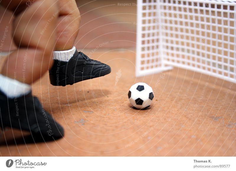 Abstauber Sport Spielen Fuß Schuhe Beine Fußball Finger Ball Tor Turnschuh