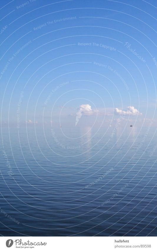 Kontakt Meer Wolken Spiegel Reflexion & Spiegelung berühren Unendlichkeit Horizont ruhig harmonisch Wetter Himmel blau tief Natur Wasser