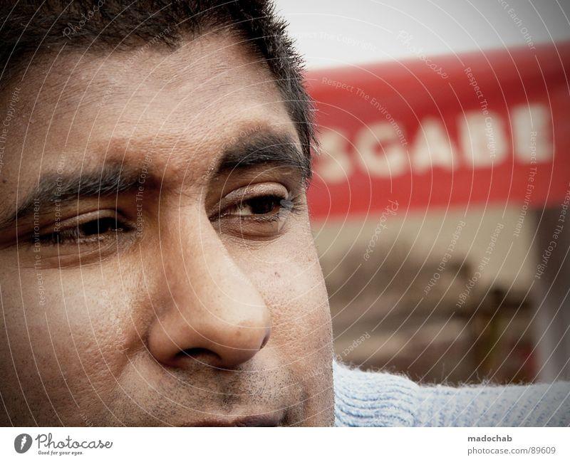 AU Porträt Mensch Typographie Buchstaben Neugier Verschmitzt verlegen Denken träumen Erfinden Mann maskulin Jugendliche Gesicht face Nase nose Auge eyes Mund