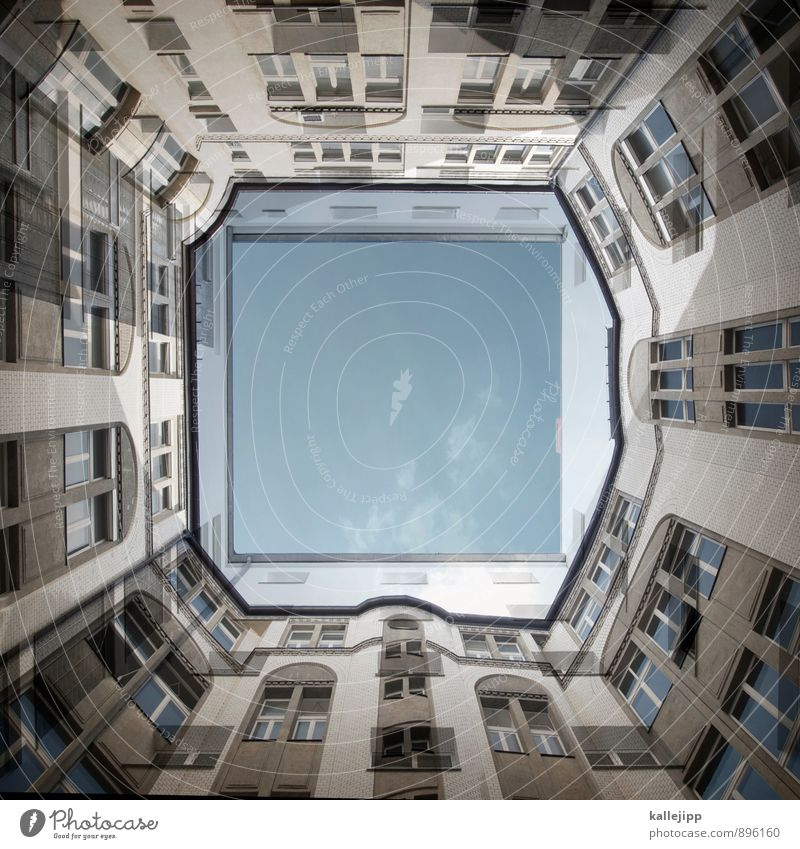O0 Stadt Haus Fenster Fassade Häusliches Leben Wohnhochhaus Hinterhof Hof