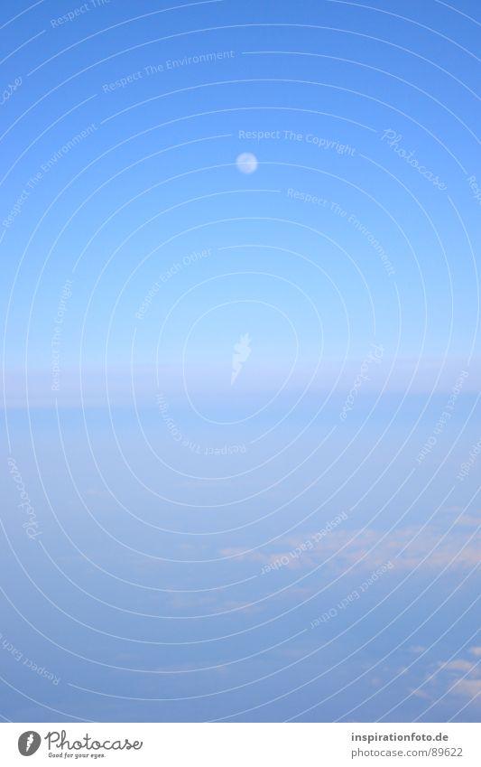 flight 7845 Wolken Horizont glänzend Vogelperspektive Dämmerung Nebel Schleier Himmel Mond Erde Bodenbelag blau hell Luftverkehr