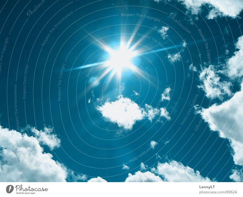 LIKE GOLD Himmel Sonne blau Sommer Ferien & Urlaub & Reisen Wolken Ferne Erholung hell Wetter Klima blenden Klimawandel grell strahlend