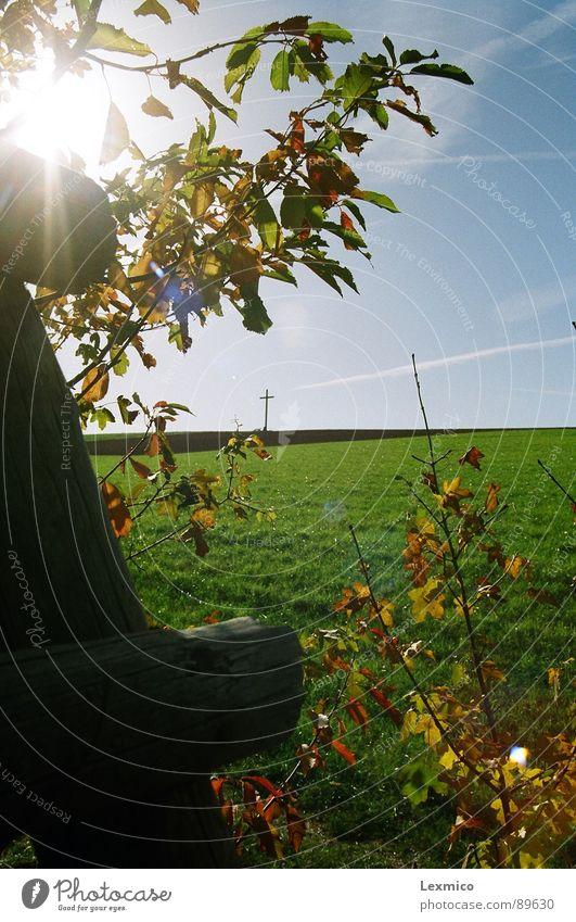 Drei Motive in Einem Natur schön Himmel Sonne Landschaft Religion & Glaube Rücken Aussicht Denkmal Wahrzeichen Christentum Blauer Himmel Hochsitz
