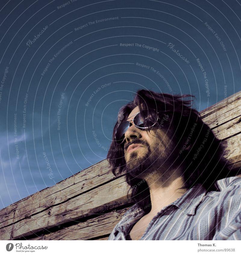 Summer Mann Gesicht Kopf Haare & Frisuren Glas Arme Haut Nase Brille Spitze lang Brust Bart Schulter Sonnenbrille Hauskatze