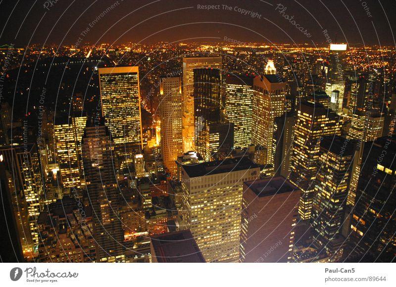 NY bei Nacht_1 Stadt Ferien & Urlaub & Reisen Architektur Hochhaus modern USA New York City Nachtleben New York State schillernd