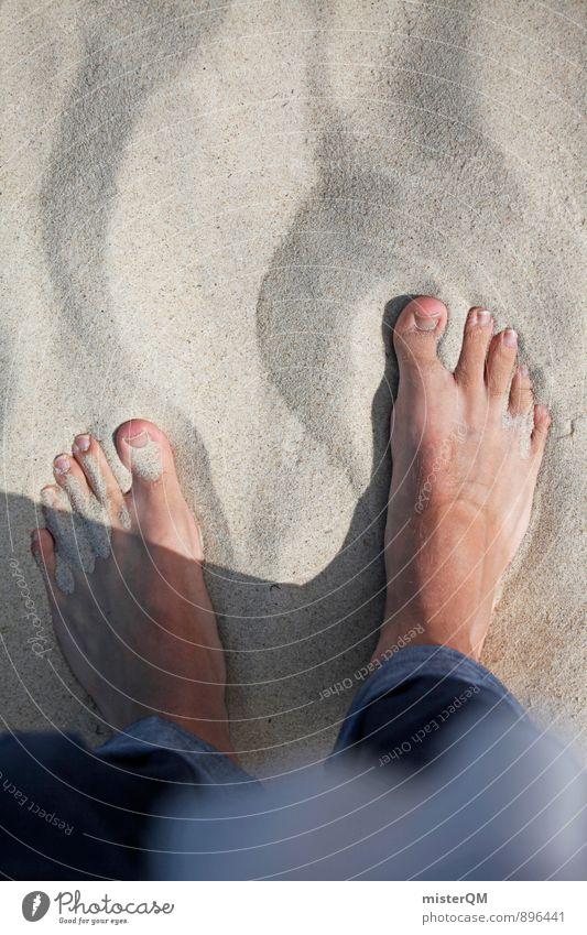 Ostsee. Kunst ästhetisch Sandstrand Sandkasten Sandkorn Strand Strandspaziergang Fuß Zehen Jeanshose Stranddüne Mensch Erholung Sommerurlaub sommerlich Barfuß
