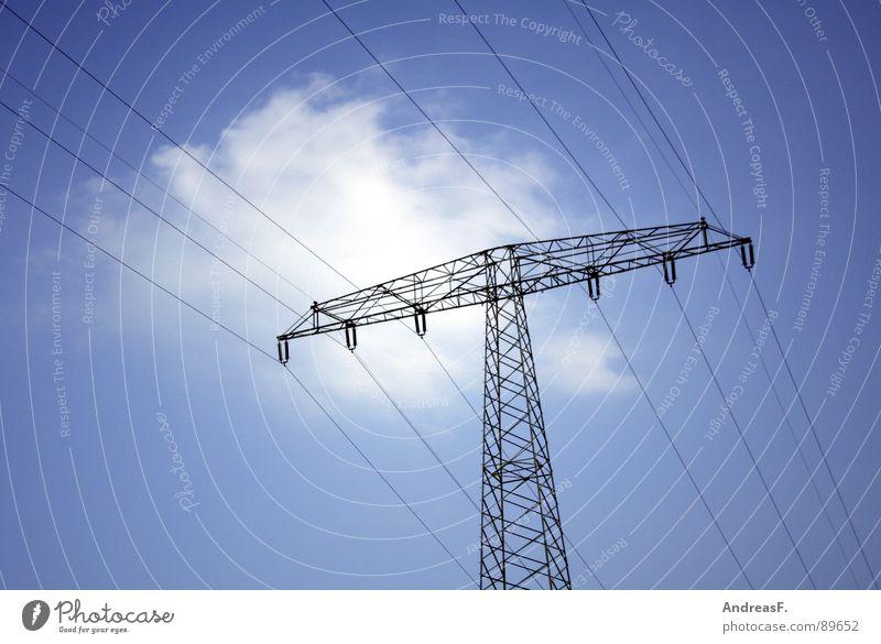 Strömlinge Himmel blau Wolken Industrie Energiewirtschaft Elektrizität Kabel Sonnenenergie Strommast Klimawandel Hochspannungsleitung