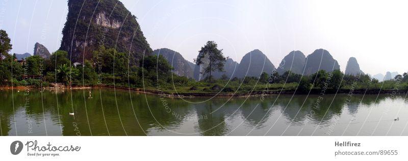 Gullin China grün Nebel Aussicht Einsamkeit faszinierend Ausmaß Gras Nebelschleier Ferne Wildnis Schleier Fluss Grünfläche Wiese Smog Panorama (Aussicht) Natur
